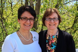 Executive director Rosangela Berbert and 2016 Connie Steele Woman of Strength Beth Heuer